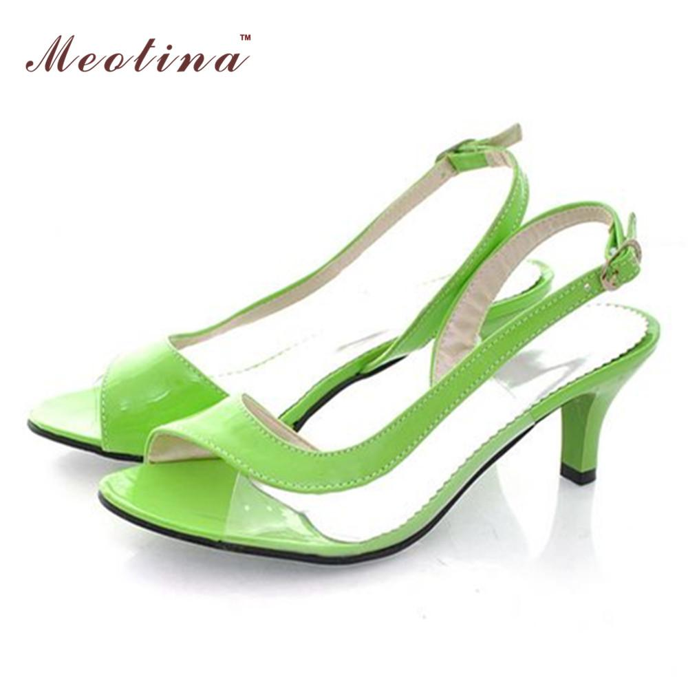 3cc673c6b8ab95 Wholesale Meotina Women Sandals Big Size 10 12 13 14 46 Summer Ladies  Sandals Transparent Neon Low Heels Designer Shoes Woman Green Yellow Sparx  Sandals ...