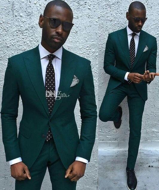 bb4ad72f08 Custom Made Fashionable Groom Tuxedos Groomsmen Dark Green Peak Lapel  Bridegroom Best Man Suit Wedding Men S Blazer Suits Jacket+Pants Black On  Black ...