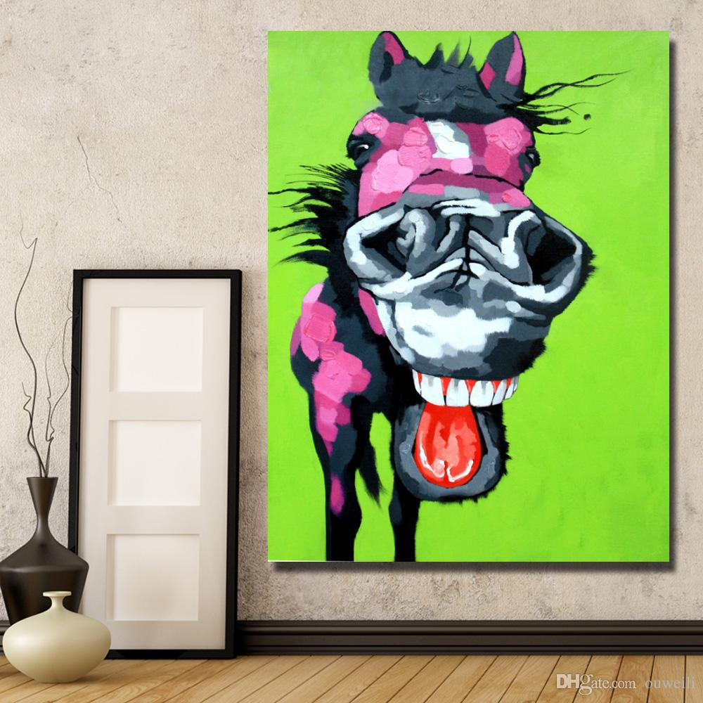 2016 new free design cartoon donkey oil painting funny animal wall pictures Paintings for Living Room Wall