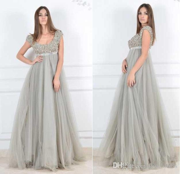 Long Silver Maternity Evening Dresses 2019 New Empire Cap Sleeve A-Line Pleats Luxury Beads Crystal Tulle Formal Prom Gowns Hot Selling E102