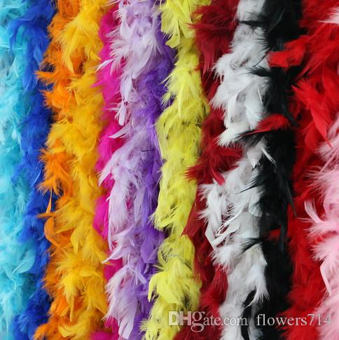 2M Turkey Feather Boa Turkey Feather Strip 40g for Wedding Party Flower Decoration