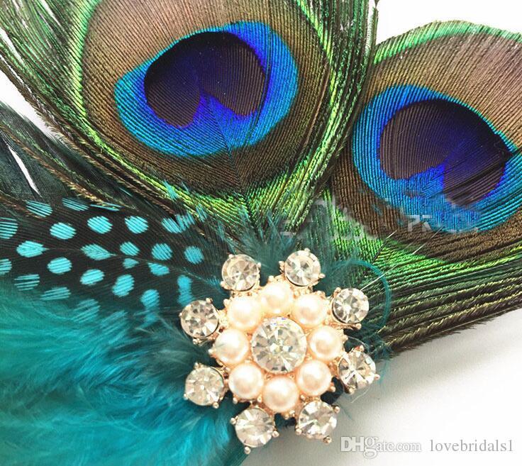 Cheveux européen et américain avec accessoires de cheveux en épingle à cheveux en plumes de paon 2019 vente chaude coiffure de soirée dansante avec un cerceau