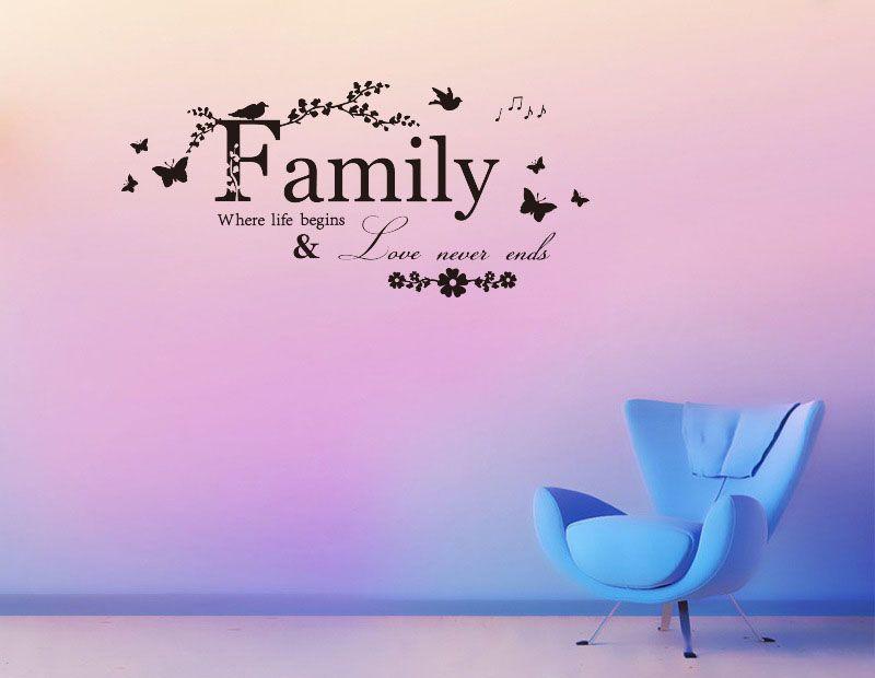 가정 통신문 예술 단어 벽 스티커 집 거실 벽 장식 스티커 사랑 결코 끝 꽃 벽 종이를 인용