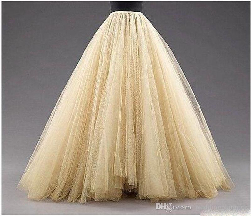 Tulle Long Women Fashion Skirts ALine Layered Tutu Floor Length Custom Made Size Plus Size Party Prom Adult Wear Spring Autumn Cheap Dress