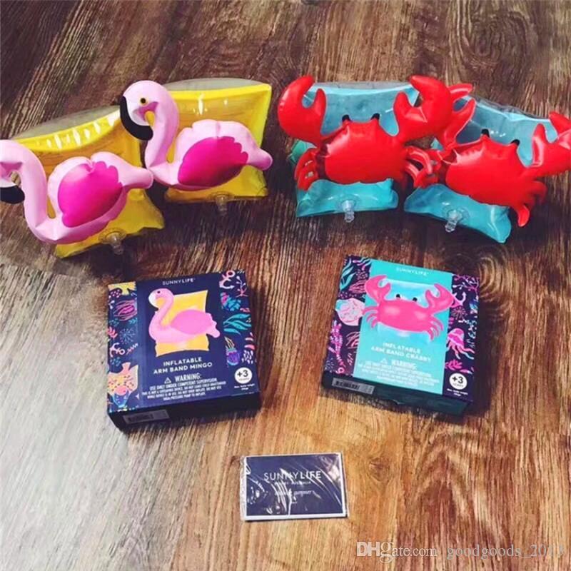 Kinderaufblasbarer Armbandkarikaturschwimmenarmband Flamingo Krabben-Babyschwimmen schellt safety Hilfswerkzeuge aufblasbarer Schwimmer-Schwimmen-Arm-Ring z024