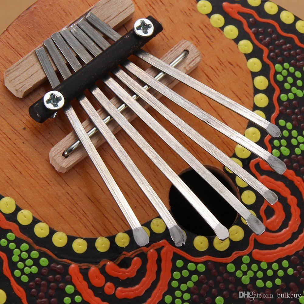 Kalimba Thumb Piano 7 Tasten Stimmbare Kokosnussschale bemalt Musikinstrument Stimmbare Kokosnussschale bemalt Musikinstrument Großhandel