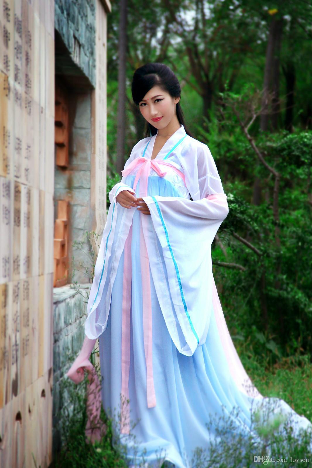 2019 Women Green Stripe Chinese Traditional Dress Ethnic ...