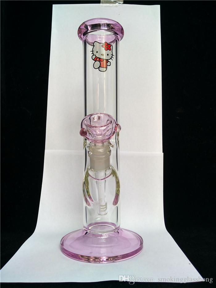2017 Lovely carton Kitty cat glass bongs color pink glass dab rigs smoking water pipe straight Recycle downstem tube coil rig 14mm joint