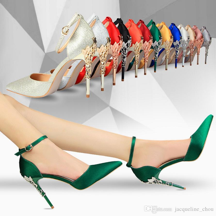 d74b3963b1 Korean Style Fashion Sexy Stiletto Metal Heel Dress Shoes Silk Pointed Toe  Pumps Candy Color Metal High Heels Wedding Shoes 283 2 Womens Loafers Mens  ...