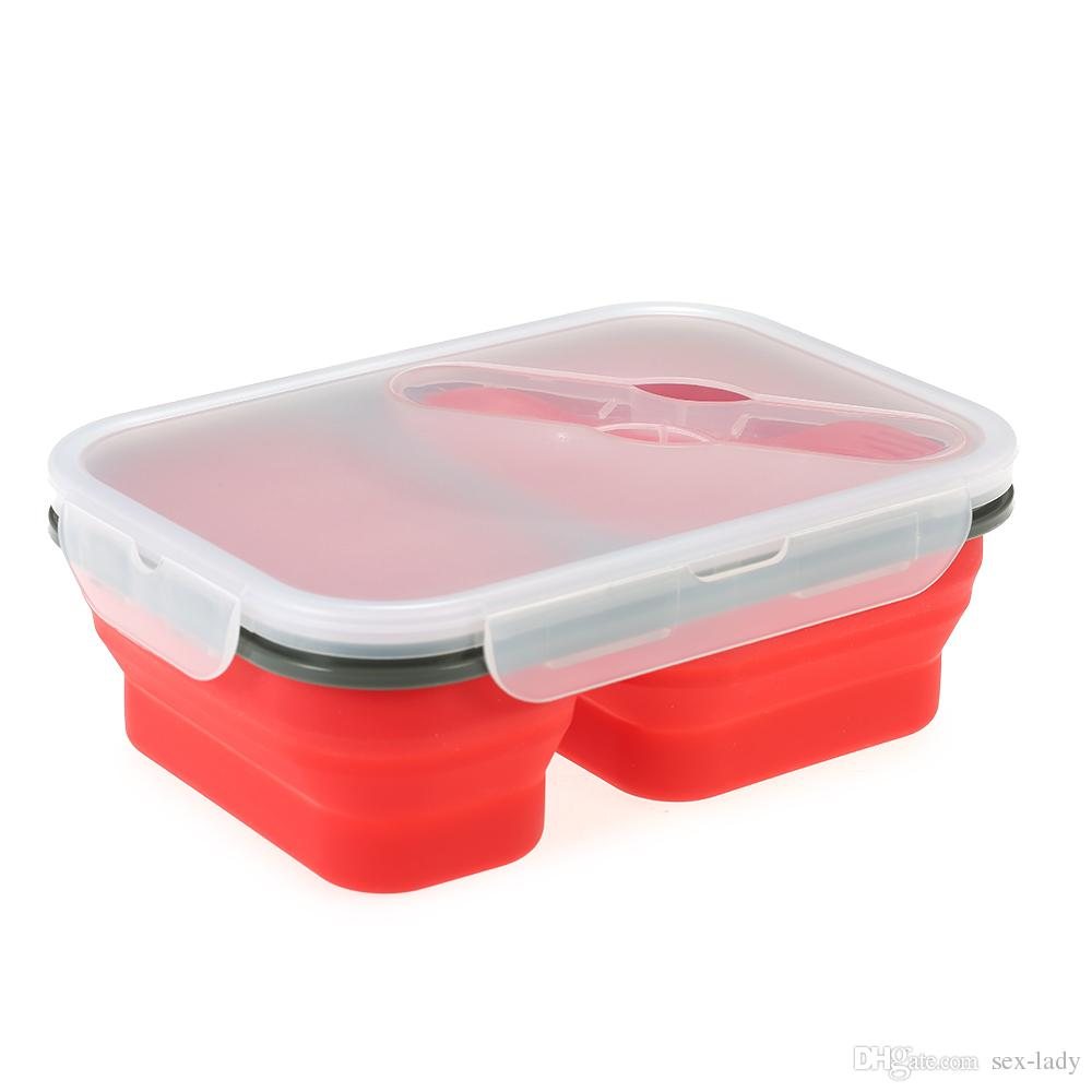 1000ml Silicone Bento Boxs Collapsible Lunch Boxs 2 Cell Bowl Bento Boxes Folding Food Storage Container Lunchbox Eco-Friendly