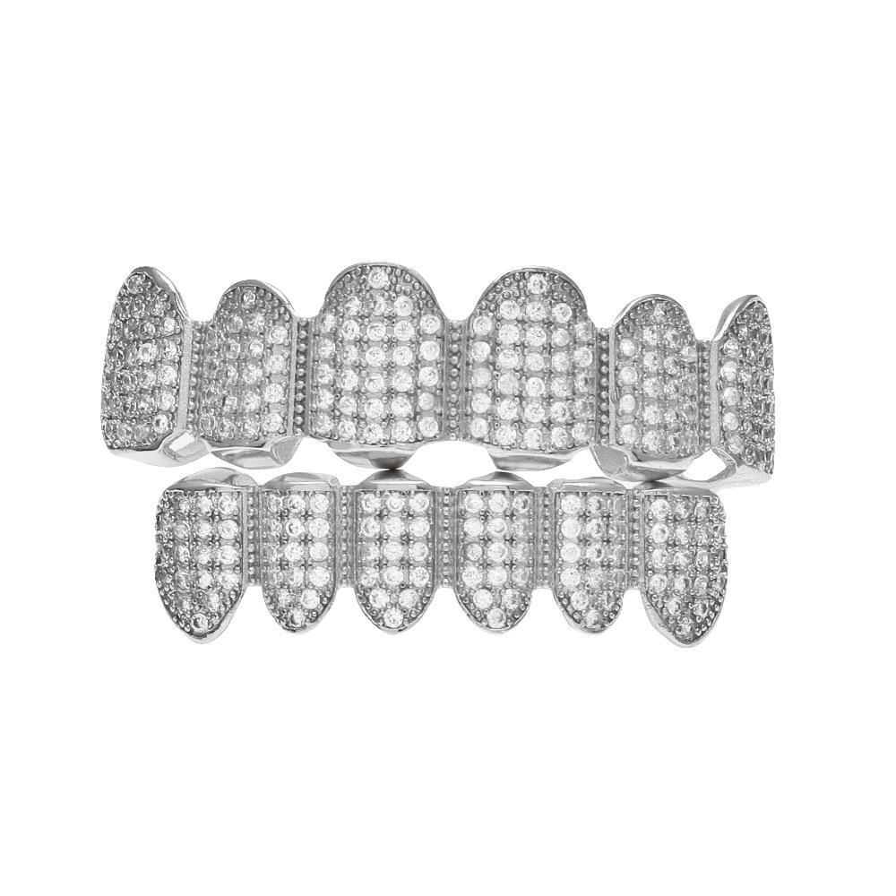 Pop Hip Hop Jewlery Set Grillz Gold Plated Full Diamond Braces Teeth Accessories High Street Jewelries