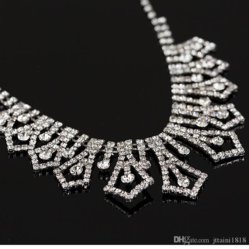 2017 hot own factory made Bridal Wedding Rhinestone Crystal Necklace Earrings Jewelry Set The bride jewelry