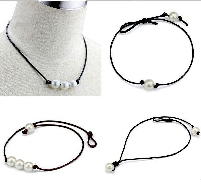 Handgemachte Single Pearl Leder Halsband Halskette auf echtem schwarz braun Lederband für Frauen Mode Nachahmung natürliche Süßwasserperle
