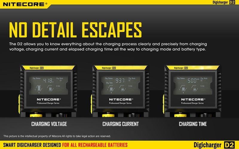 100 % Original Nitecore Charger Nitecore D2 Digcharger 배터리 충전기 LCD 충전기 26650 18650 18350 16340 1440 10440 무료 배송