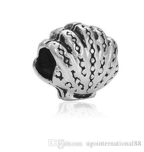 Fits Pandora Bracelets Ocean Wind Sea Shell Silver Charm Beads Charms For Wholesale Diy European Necklace Snake Chain Bracelet