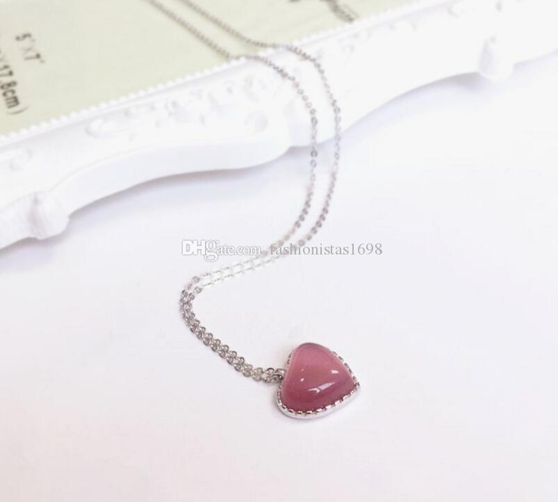 Valentine's day 925 silver pink cat eye stone Love necklace women Heart pendant small and pure gold rose gold necklace