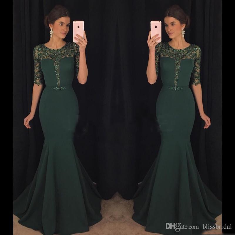 2017 Chic Dark Green Evening Dresses Kaftan Abaya Middle East Saudi Arabia  Indian Lady Mermaid Prom Dresses Dress For Party Wear Plus Size Petite Party  ... d5c4e87dc87b