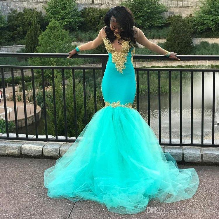 Hot Sale Turquoise Mermaid Prom Dresses 2017 Gold Lace Appliques ...