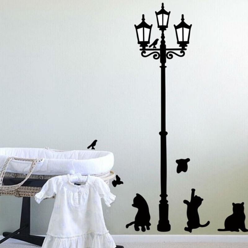 Популярные древние лампы кошки и птицы стикер стены настенная роспись домашнего декора комнаты Дети наклейки обои милые искусства декоративные наклейки Бесплатная доставка