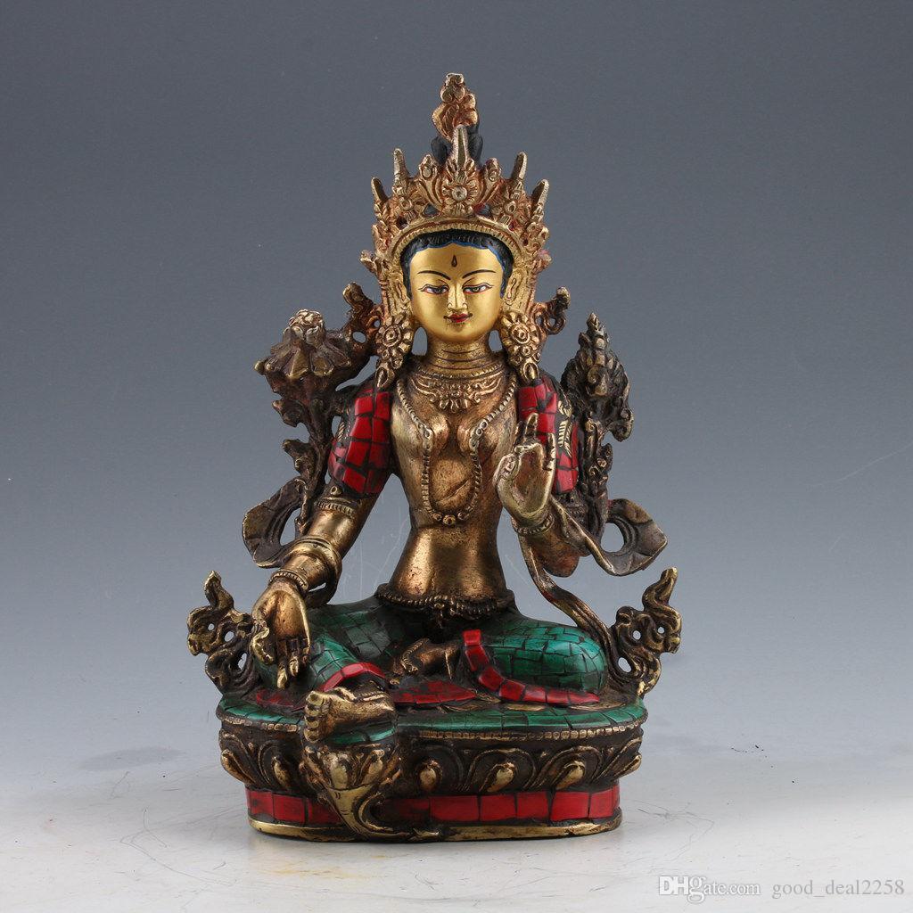 Estatua de Tara verde budista tibetana dorada turquesa pintada a mano de latón chino