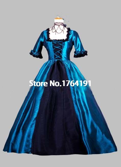 2019 Renaissance Vintage Blueblack Short Sleeve Victorian Era Dress