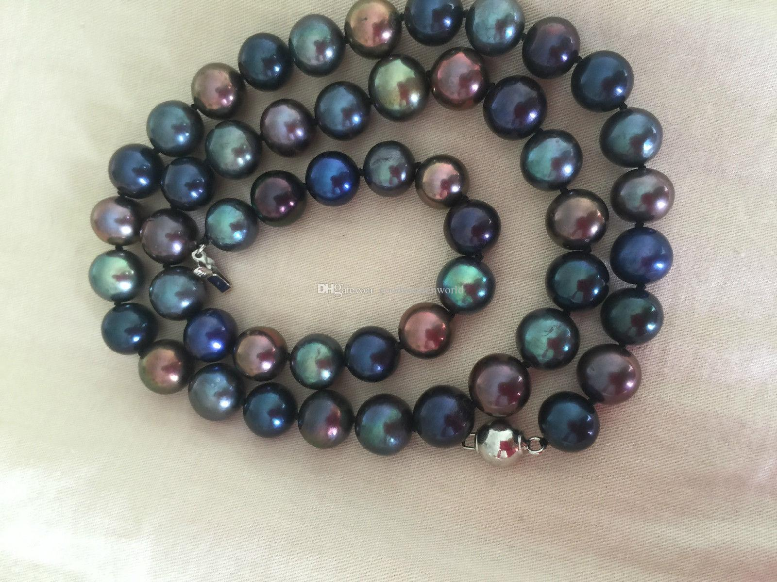 Fine Pearls Jewelry stunning9-10mm tahitian multicolor black green red pearl necklace 19inch