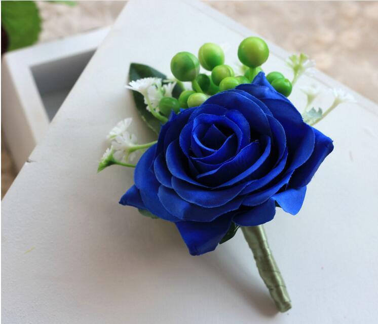 Artificial Flowers Dama de honor Blue Rose Muñeca Corsage Gentleman Rose Boutonniere Padrino de boda Bouquet Silk Flower Decoraciones de la boda