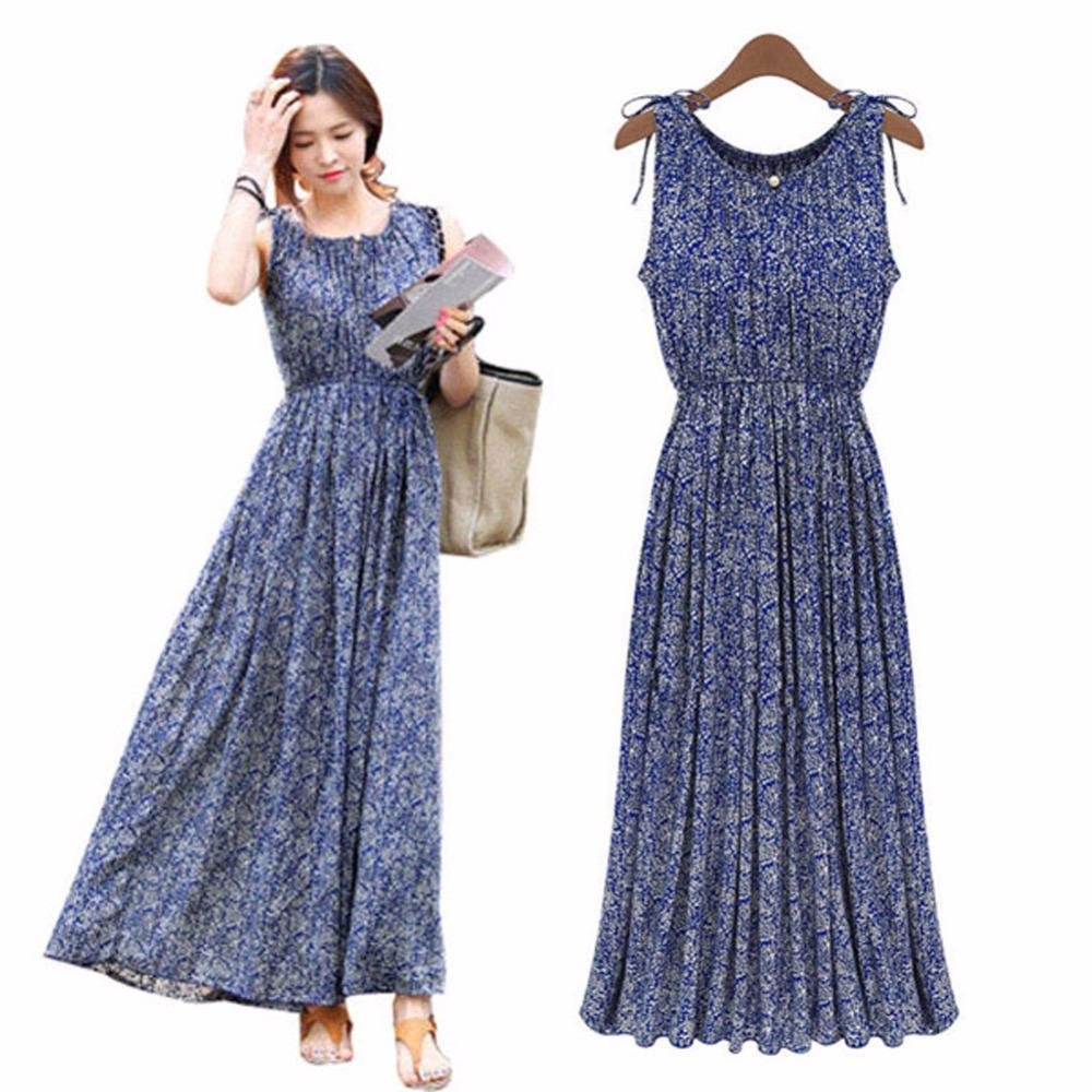 c2710f4120 Wholesale- Women Long Dresses Clothes Lady Floral Boho Maxi Evening Party  Dress Beach Dress