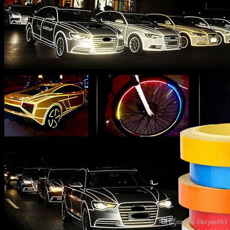 5m 1cm / 2cm Car Stickers Reflective Tape Car Styling Wrapping Vinyl For Car body PVC 5 Colors Available