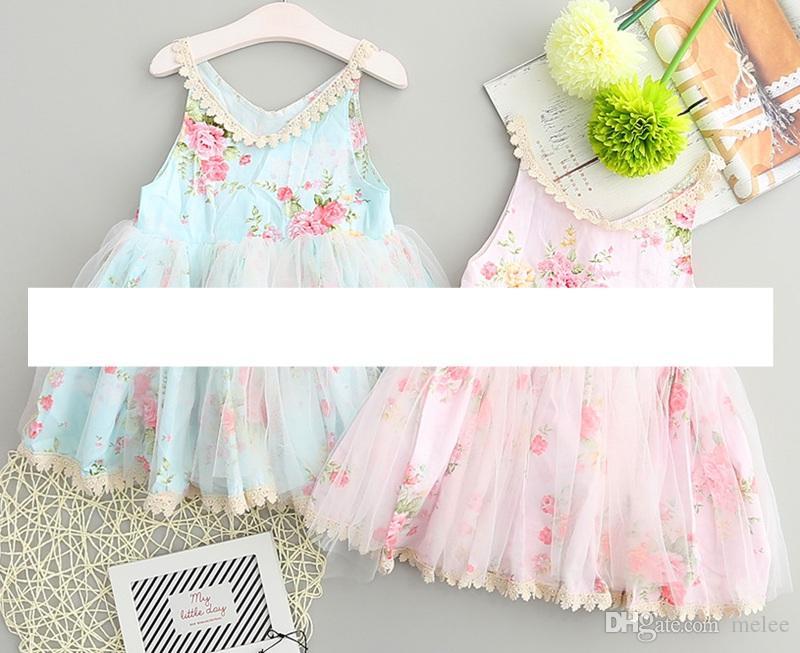 5d3b7a492 Baby Easter Dresses Girls Sleeveless Floral Vest Dress Girl Flower ...