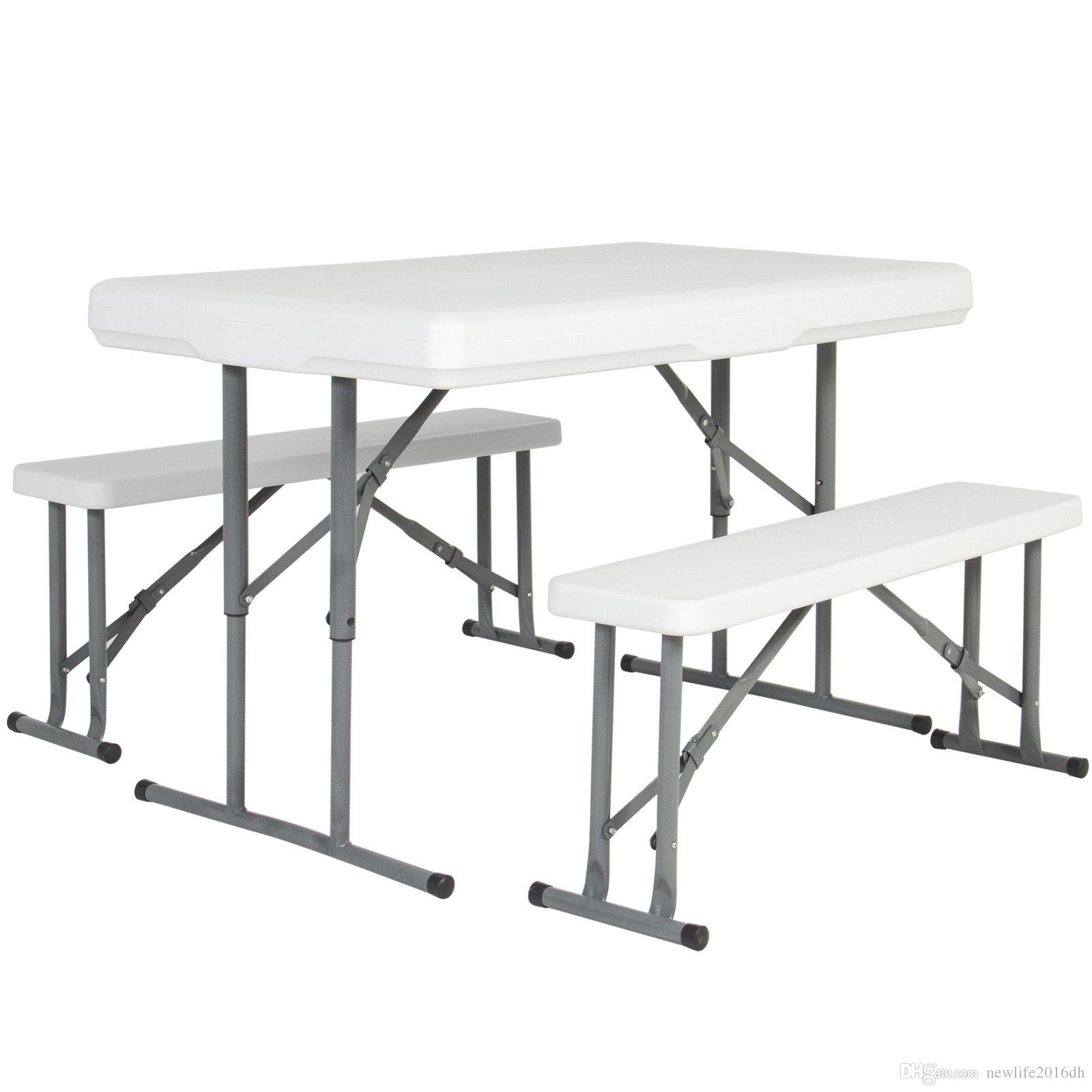 2018 Folding Table & Benches Portable Indoor Outdoor Picnic Party