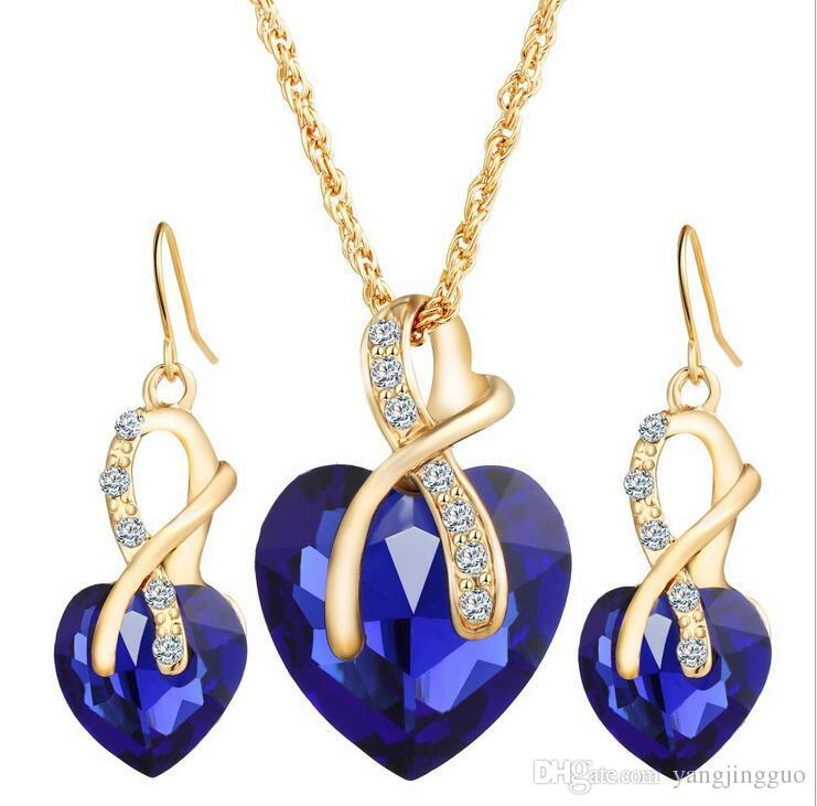 Heart-shaped Austrian crystal zircon earrings necklace set for wedding banquet upscale optional free delivery