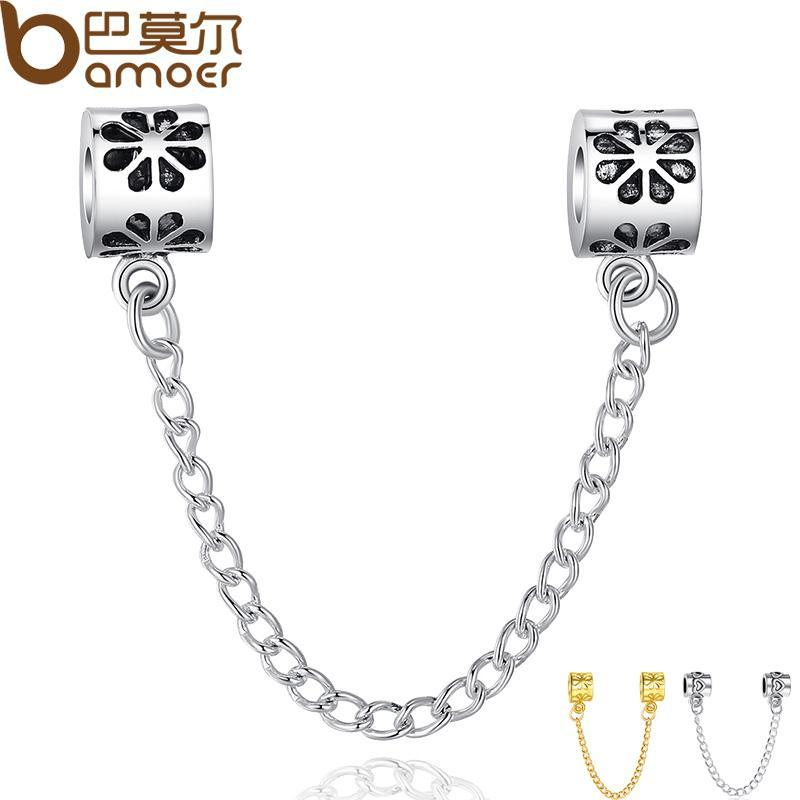 8684a2d81 Original Silver Plated Charm Fit Bracelet Flower Charm Safety Chain ...