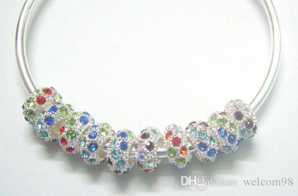 30 unids / lote Plata Plateado Granos de Cristal Europeos Para DIY Pulsera Collar Regalo de la Joyería C28 Envío Gratis
