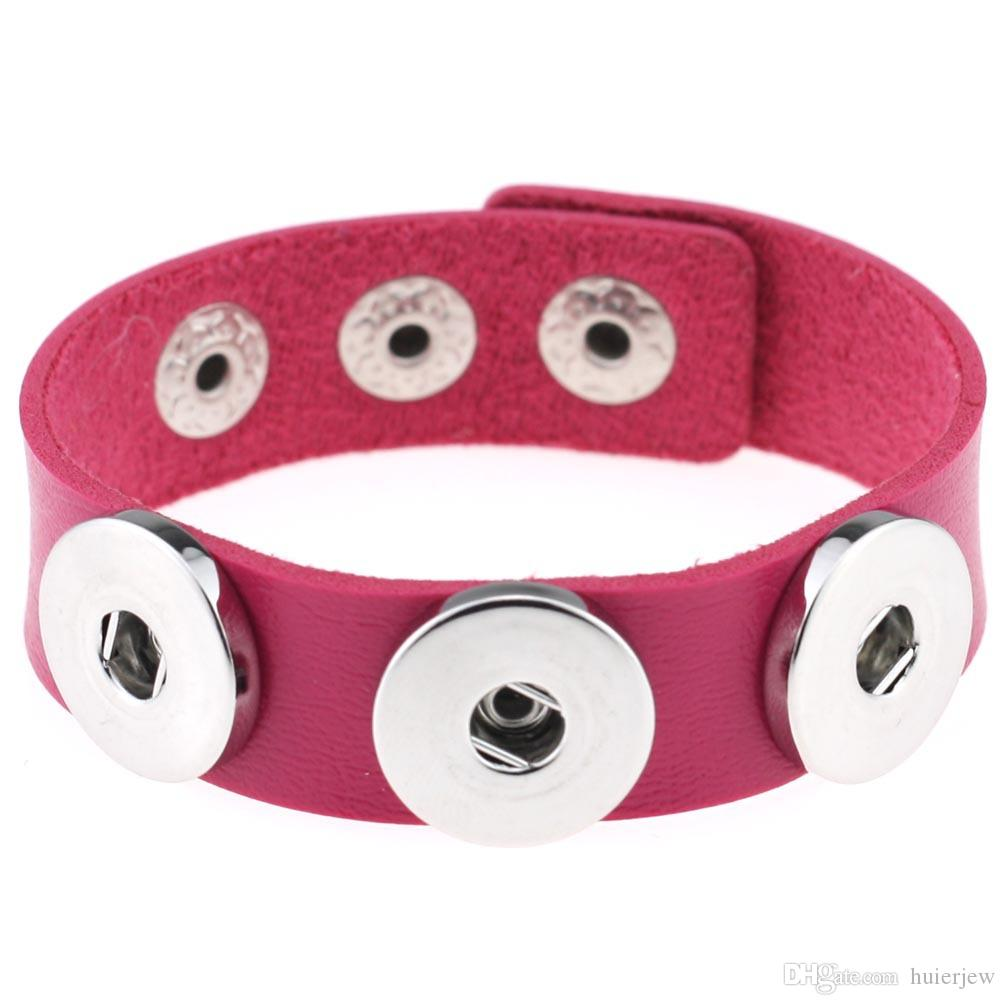 Bracelets de charme argent Snap Fit bricolage Snaps boutons bijoux 18mm pas cher noeud Ginger Snap bijoux bracelets en cuir