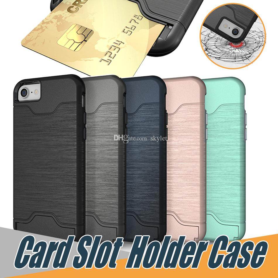check out 3ea18 1c3b2 For iPhone XS MAX XR 8 plus Card Slot Holder Cover Case for Galaxy S9 Plus  iPhone 8 Plus Rugged Phone Holder Kickstand Case with OPP Bag