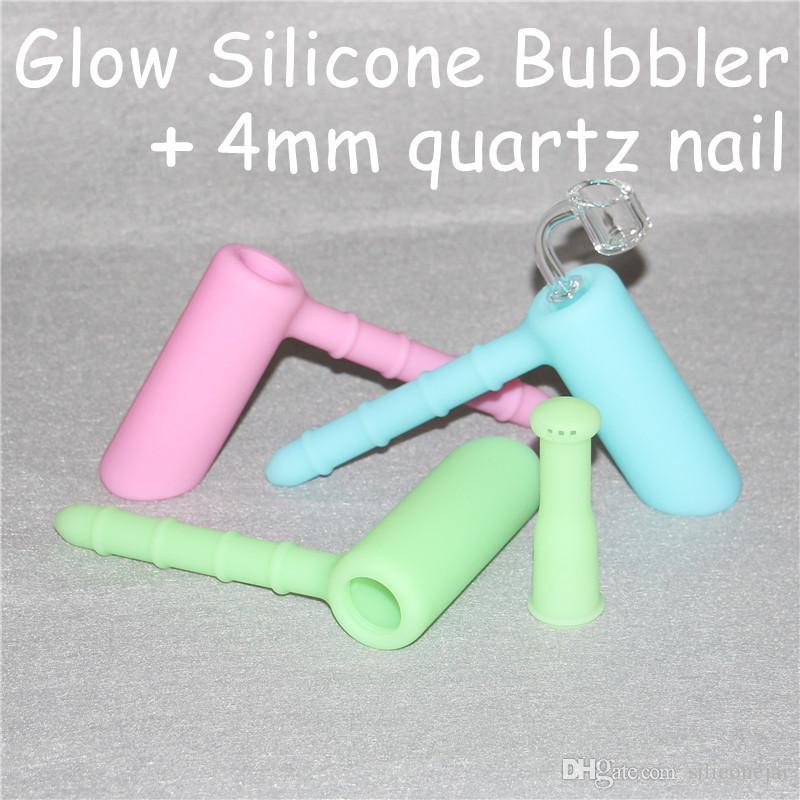 Silicone/Glass Hammer hand pipe water pipes perc percolator bubbler glass smoking pipes tobacco pipe bongs Dab rig bongs+4mm quartz nail
