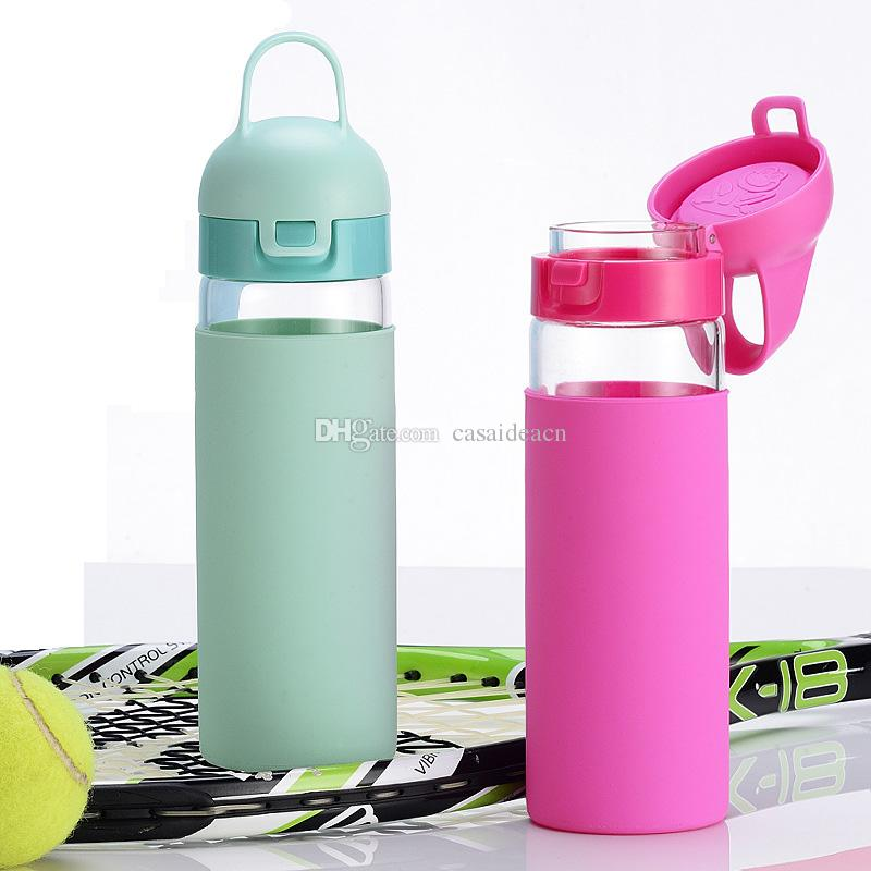 42950aa09 Sports Water Bottle One Click Flip Top Open With Silicone Sleeve 18oz BPA  Free Borosilicate Glass Portable For Running Gym Yoga Outdoors Cheap  Reusable ...