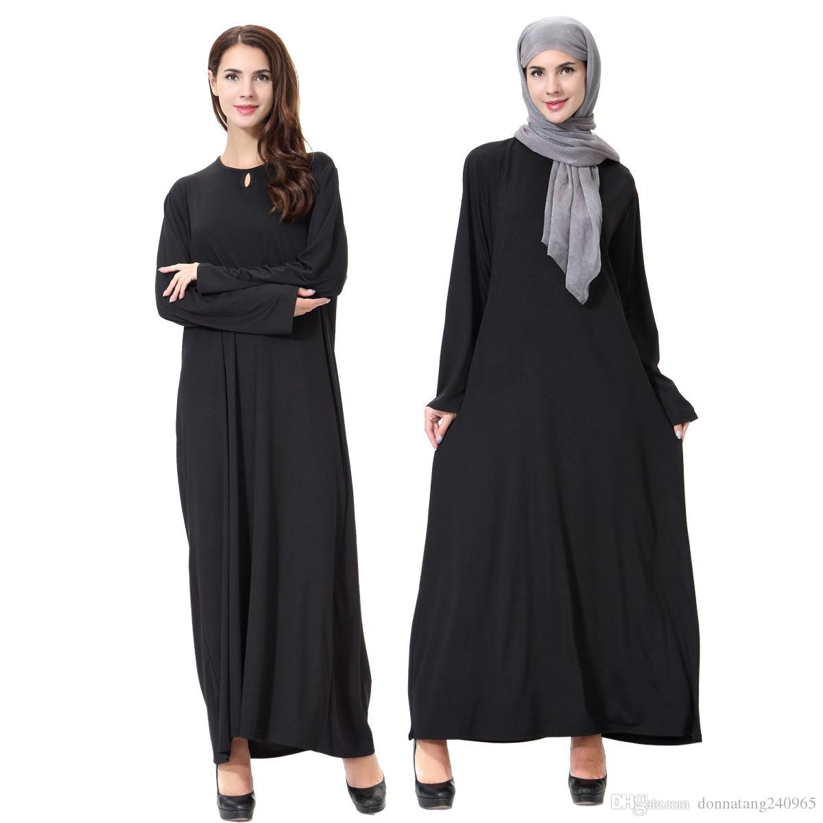 großhandel neue ankunfts islamischen schwarzer umhang abayas muslim langes  kleid für frauen malaysia dubai türkischen damen bekleidung qualitäts robe