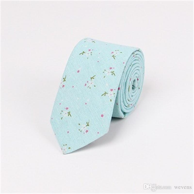 Wedding Suits Floral Cotton & Linen Neck Tie 6.5cm Skinny Neckties Leisure Gravatas Corbatas Business Ties for Men
