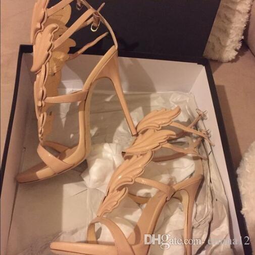 Best-seller Trendy Lady Angel Wings nero giallo tacchi alti sandali Gladiatore Roma donne foglia cuoio vestito da partito pompe pompe