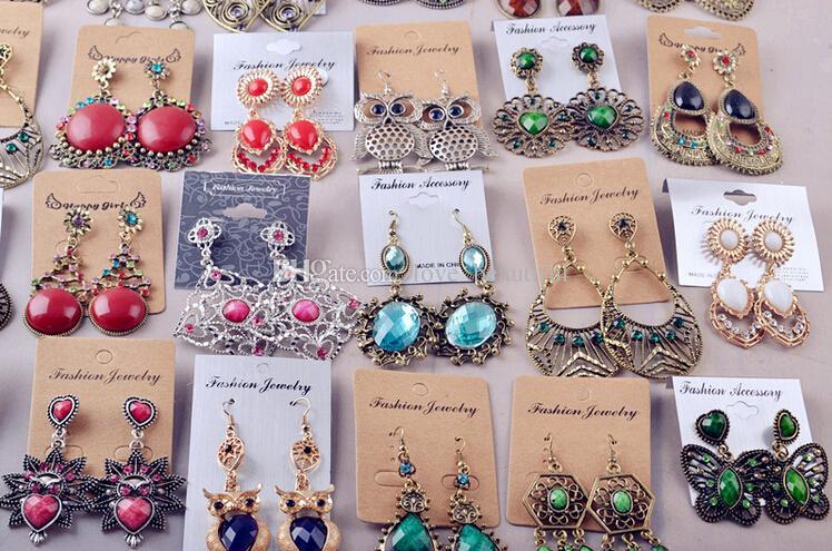 2017 neue modeschmuck Zufallsmischung 12 stil 12 Paare / los Vintage Tibetischen Silber / Bronze Harz Edelstein ohrringe Ohrringe