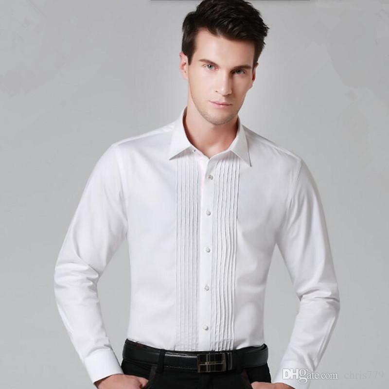 Custom made men shirt classic style party dinner shirt solid color single breasted groom wedding the interview shirt