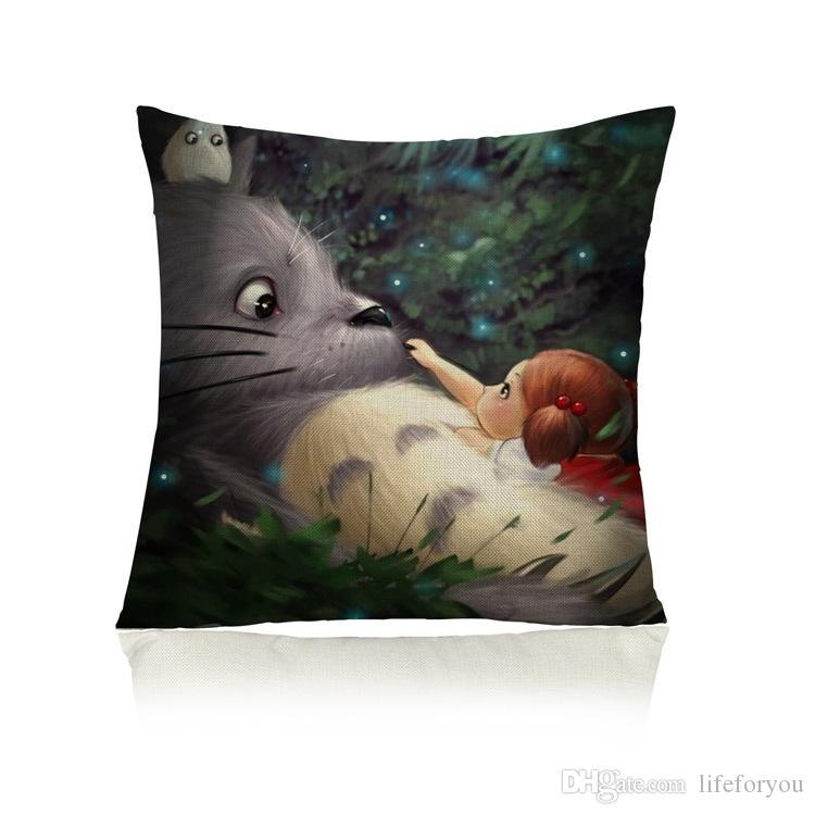 Totoro Coussin décoratif Coussin d'ameublement à domicile créatif avec deux côtés d'impression Taie d'oreiller en coton de linge de coton 17.7x17.7inch