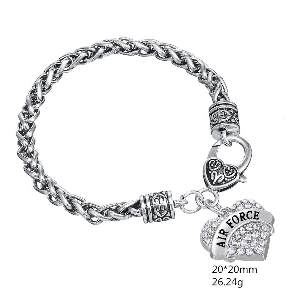 Mode Einfache Design Engrved brief AIRFORCE Kristall Embedded Anhänger Dicke Halsketten Herz Armband Herz Karabinerverschluss Ketten Schmuck