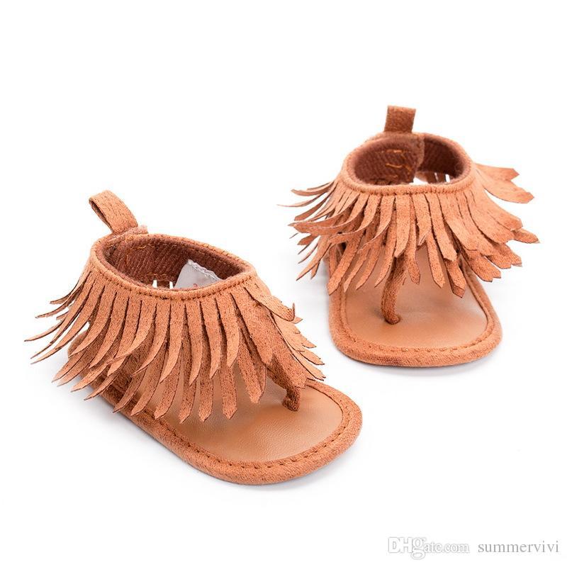 Sandales bébé First Walkers été nouveau Infant Toddler T Fringe bébé filles or gland Tongs sandales nouveau-né bébé princesse chaussures 6276