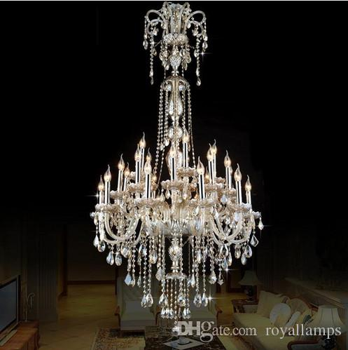 Antique rustic cognac crystal chandelier led lustre luxury long large chandelier lighting villa living room lampadari e14 suspension light chandelier