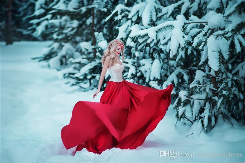 Incroyable Perles Perles Robes De Bal 2017-2018 Sexy Sweetheart Blanc Et Rouge Robes De Soirée Arabe Mousseline De Soie Balayage Train Pageant Robe De Fête