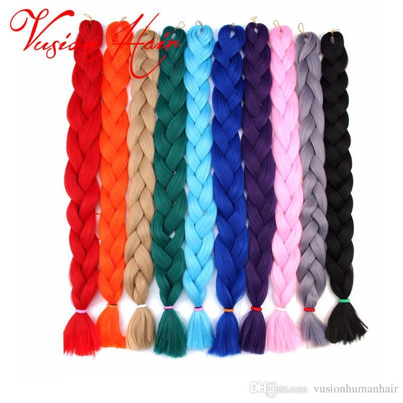 합성 카네 칼론 브레이딩 헤어 24 인치 100g / pack 크로 셰 뜨개질 머리카락 종합 헤어 합성 점보 머리 장식