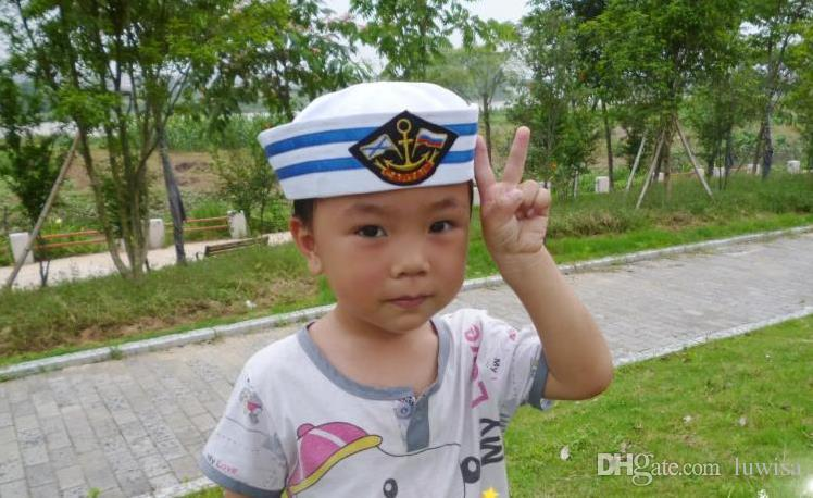 Children Cotton Sailor Captain Hat Uniforms Costume Party Cosplay Stage Perform Marine Cap Anchor Patch Navy Military Cap